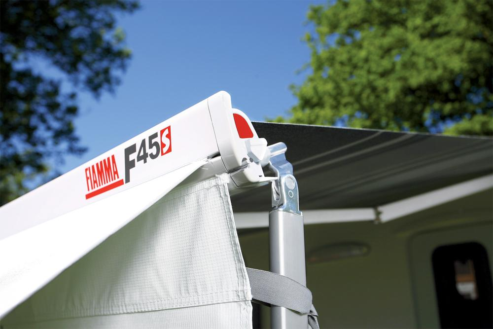 Fiamma F45S awning. 300cm - White case with a Royal Grey ...