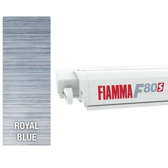 Fiamma F80 awning. 450cm - White Case with a Royal Blue ...